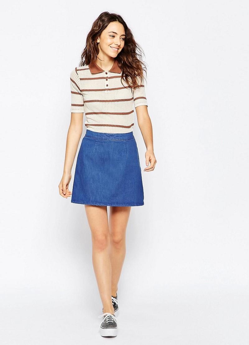 С чем одевать джинсовую юбку трапецию