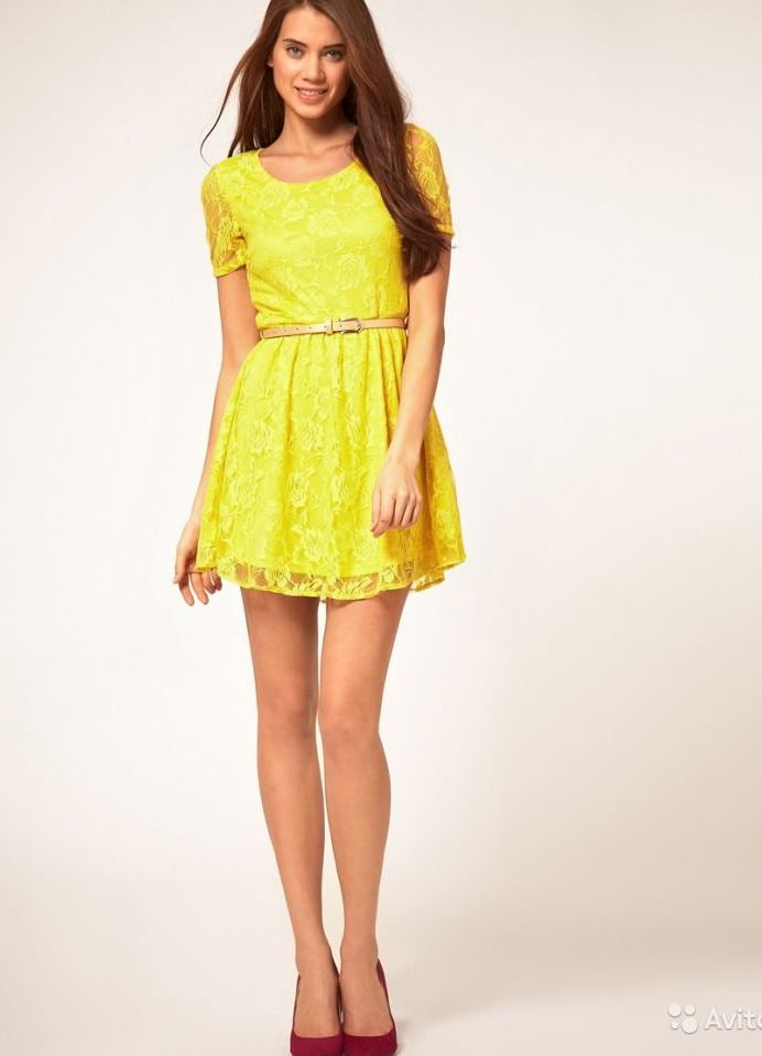 Желтое платье короткое эротичное фото 483-600