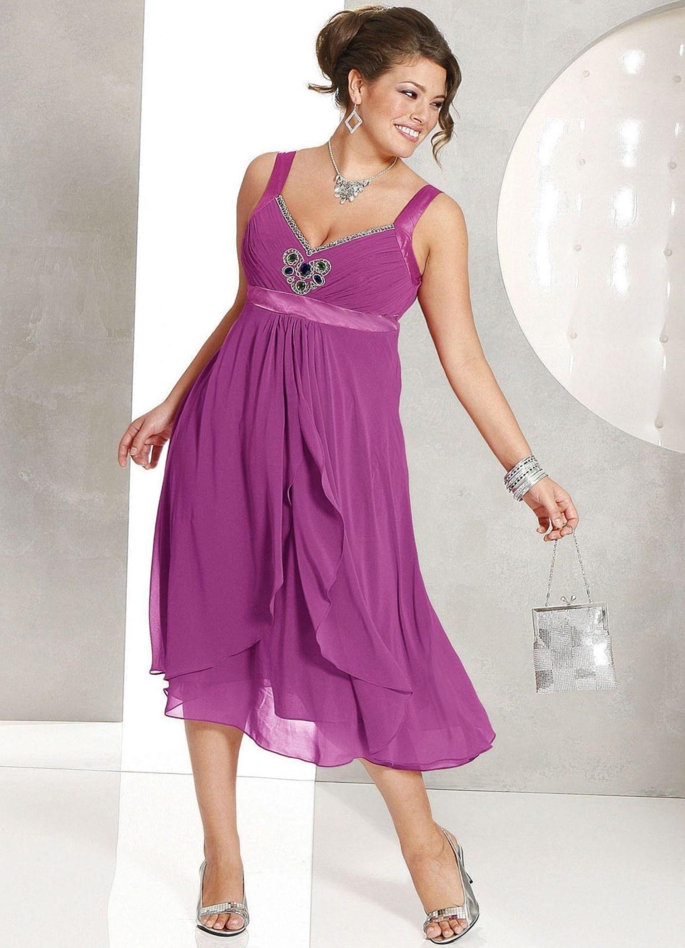 f034d1dde817d12 Длинное шифоновое платье на полную фигуру - Модадром