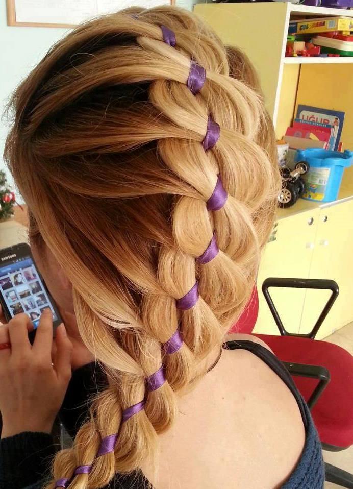 Прически с косами и лентой