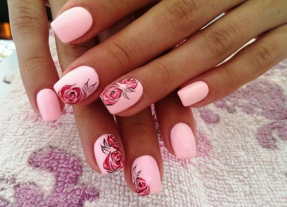 Розовые ногти дизайн шеллак 2017