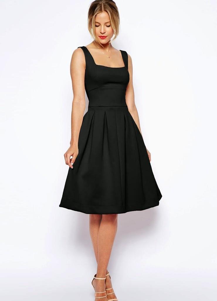 Платья ниже колен с пышной юбкой