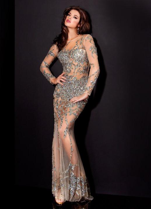 Платье из сетки с длинным рукавом