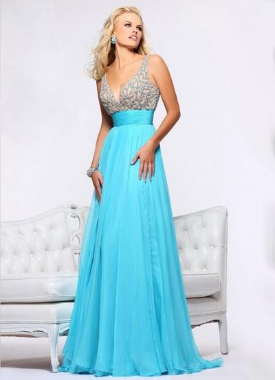 Платье бирюзового цвета в пол