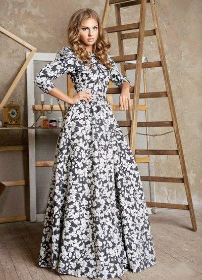 Платья в пол с длинным рукавом лето
