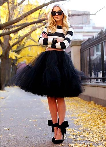 С чем носить черную пышную юбку фото