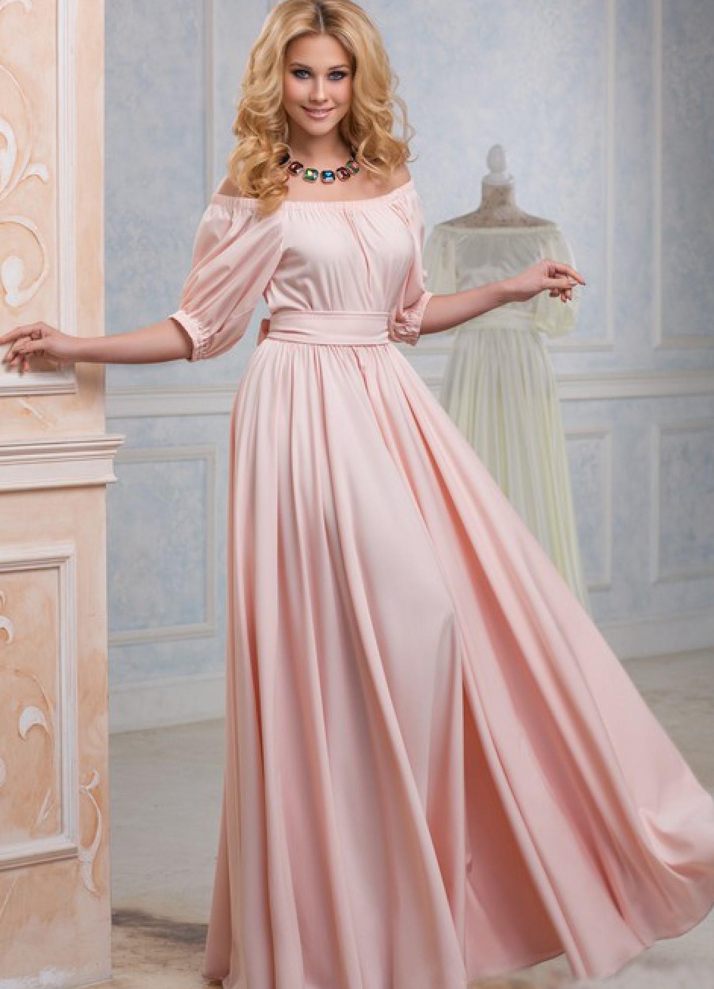 Фото розовое платье в пол