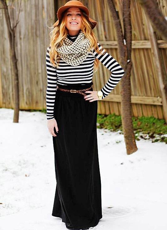 Черная длинная прямая юбка с чем носить