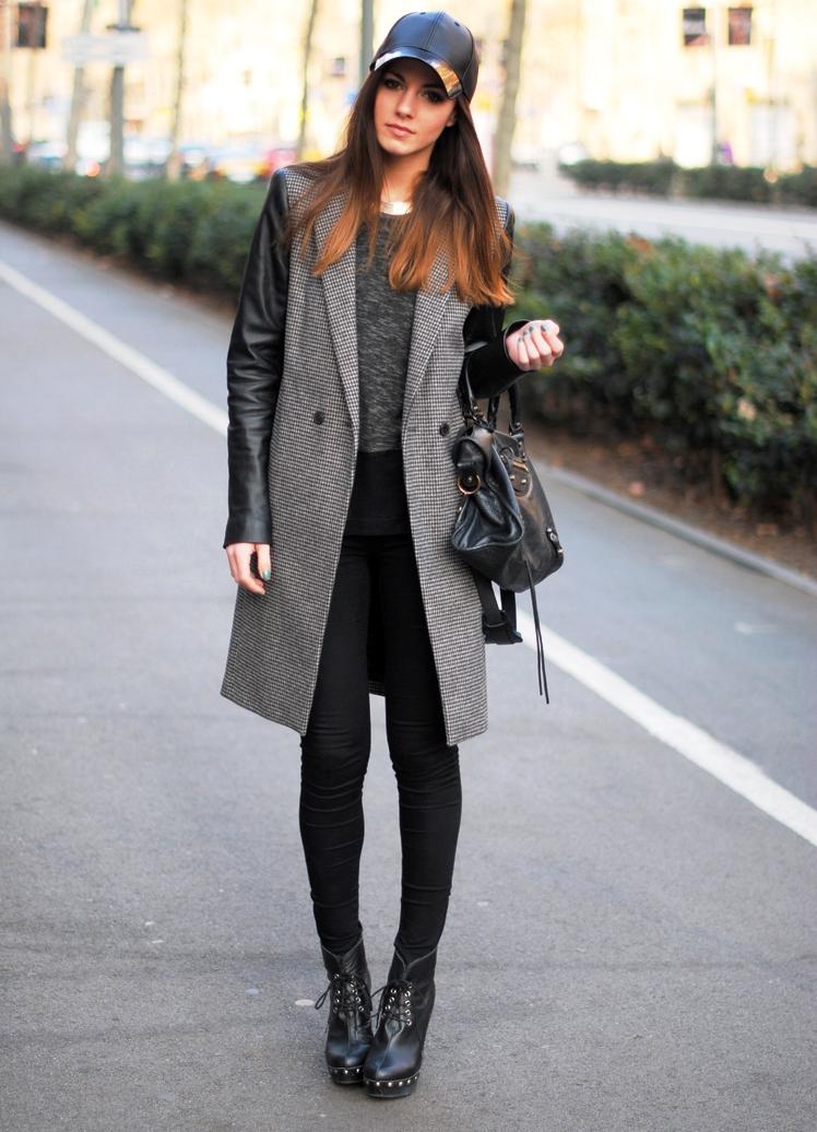 Серое женское пальто с чем носить женское