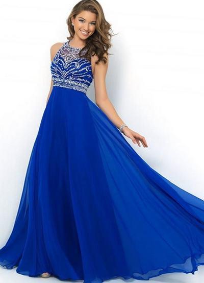 Выпускные синего цвета платья