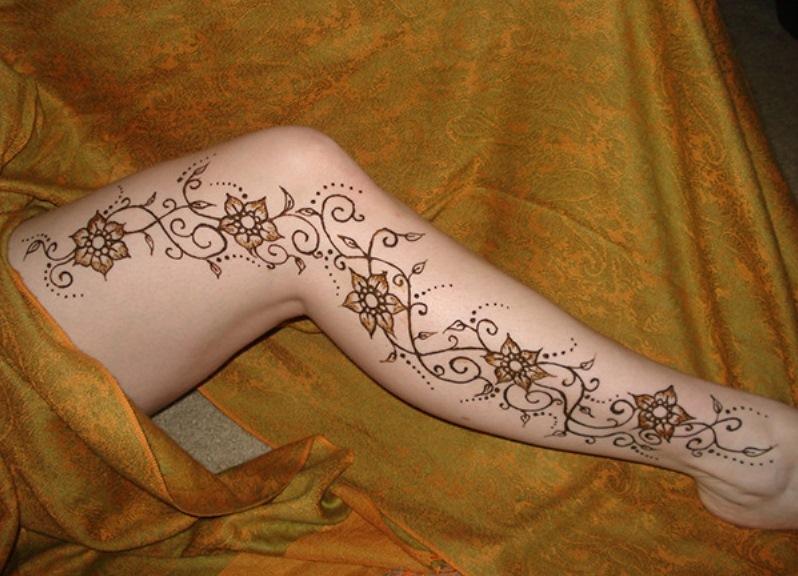 рисунки на ноге хной фото