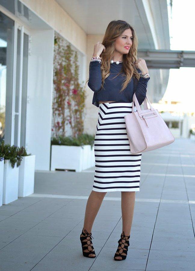 Юбки ниже колена мода