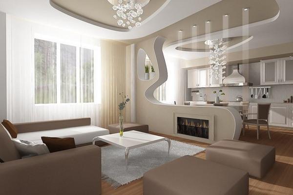 дизайн студия кухня зал фото
