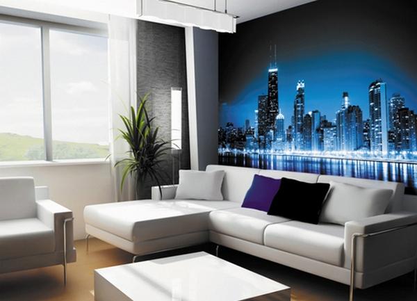 фото дизайн гостиной с фотообоями