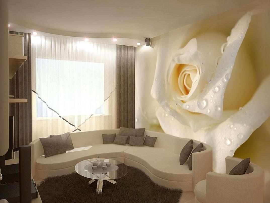 Фотообои розы в интерьере фото в гостиной