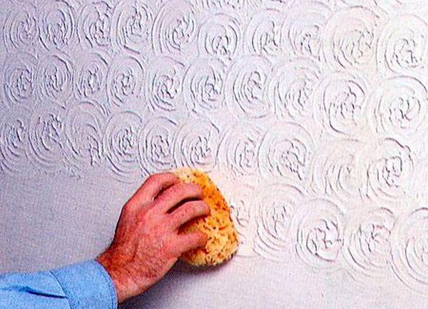 покраска стен структурным валиком фото