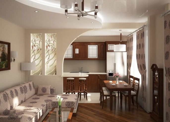 Кухня гостиная дизайн интерьера фото