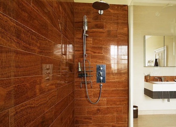 Tile wood floor bathroom