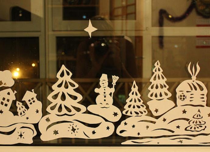 Украшения на окна на новый год из бумаги шаблоны