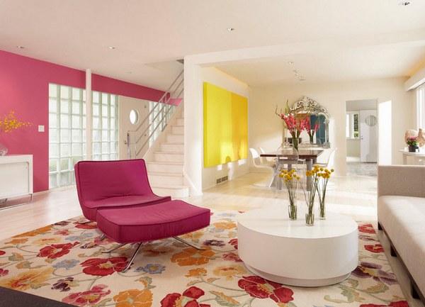 Wohnzimmer grau pink