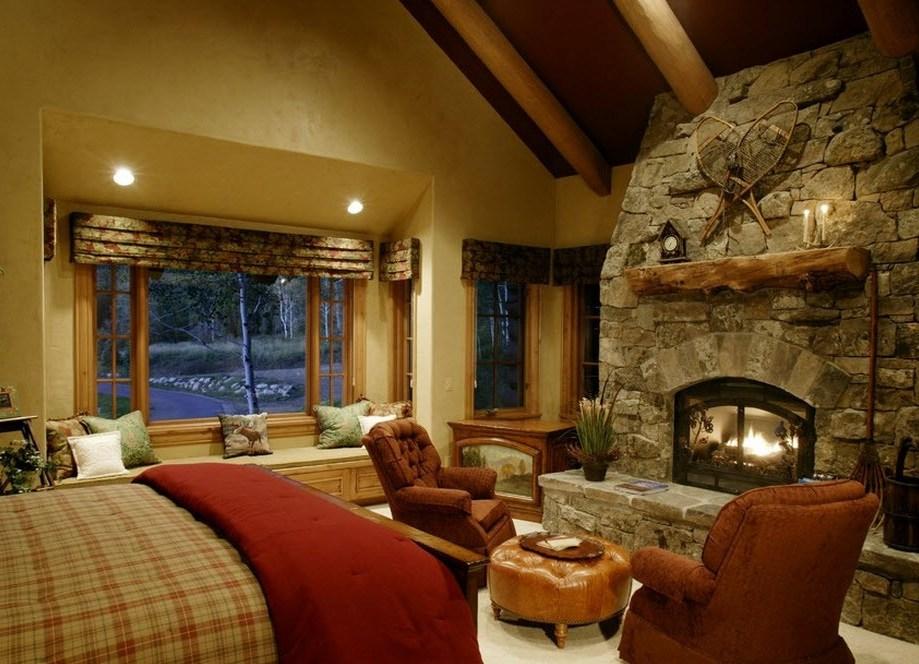 Дизайны спальни с камином фото