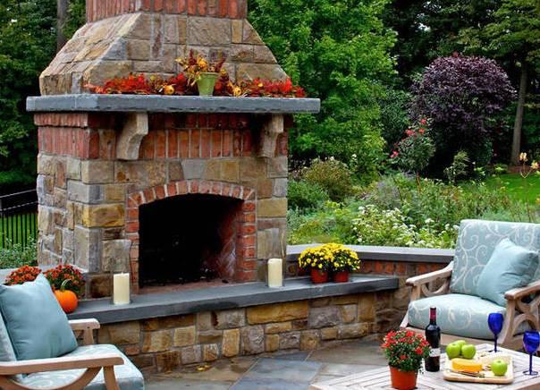 Камин в саду фото