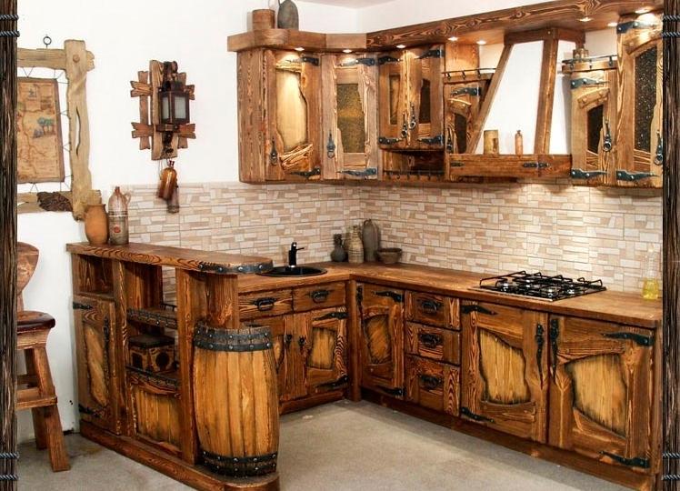 кухня из натурального дерева фото