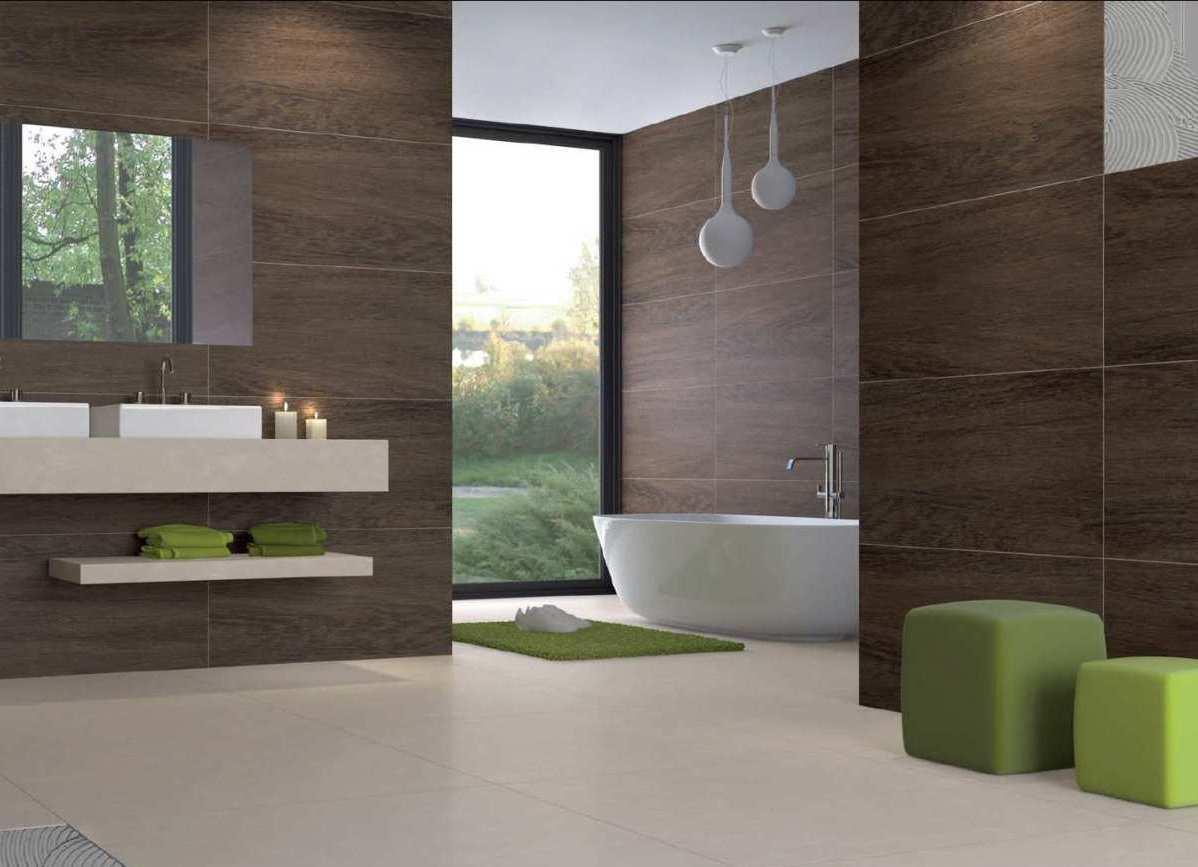 Ceramic wood tile bathroom
