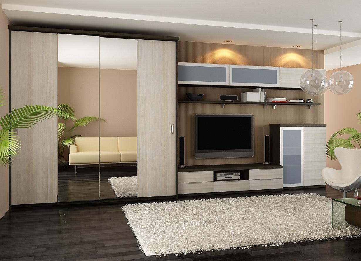 Дизайн мебели с шкафами для гостиной