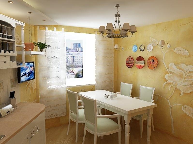 Дизайн кухни фото с жидкими обоями