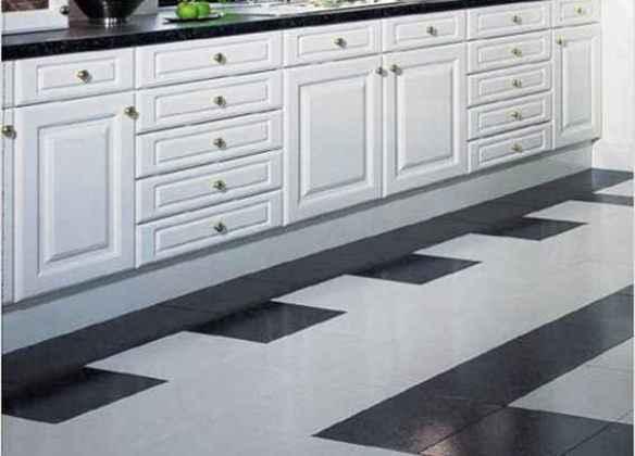 Дизайн плитки на кухне на полу