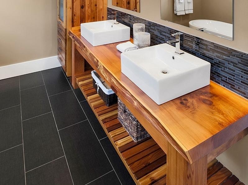Столешница в ванную деревянная столешница 32 мм, клен ванкувер