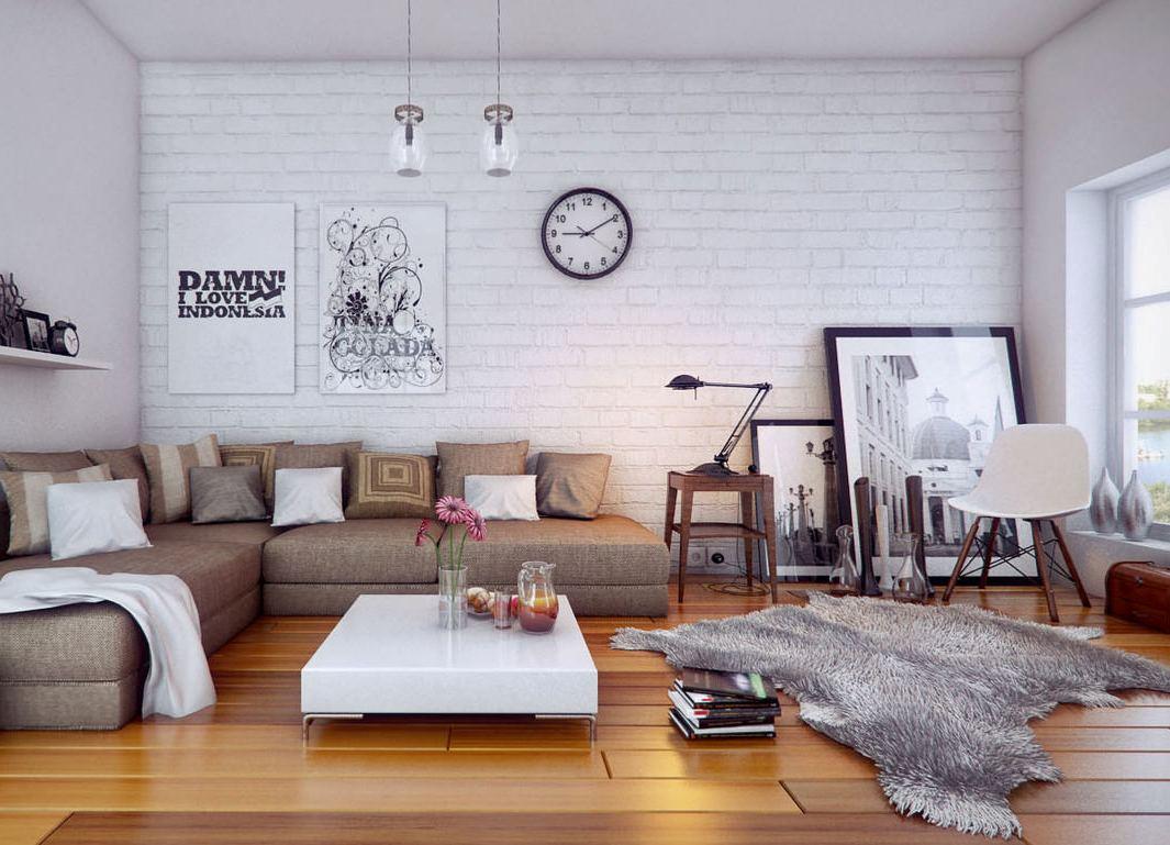 Интерьер с кирпичной белой стеной фото