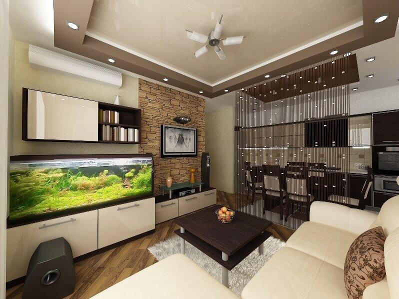 Кухня совмещенная с залом 16 кв.м дизайн
