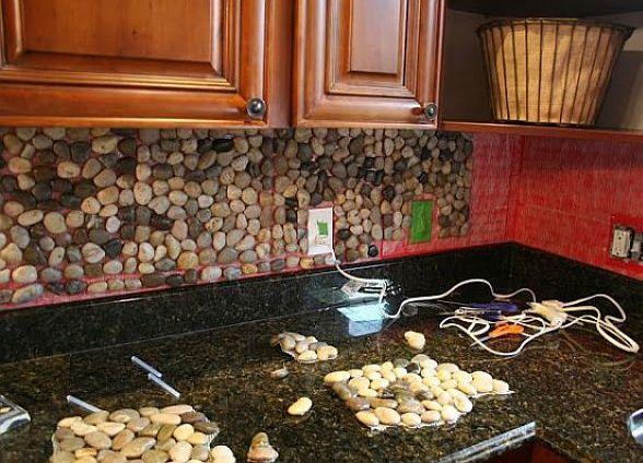 Фартук на кухню из камня