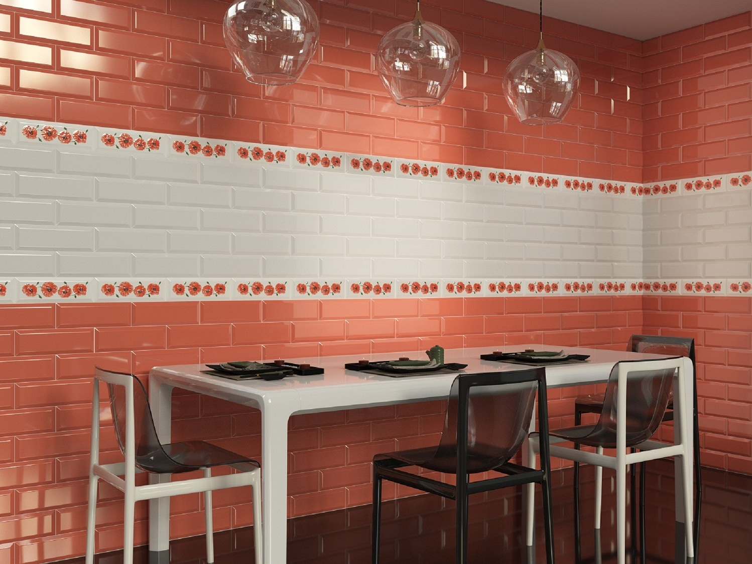 Red subway tiles kitchen