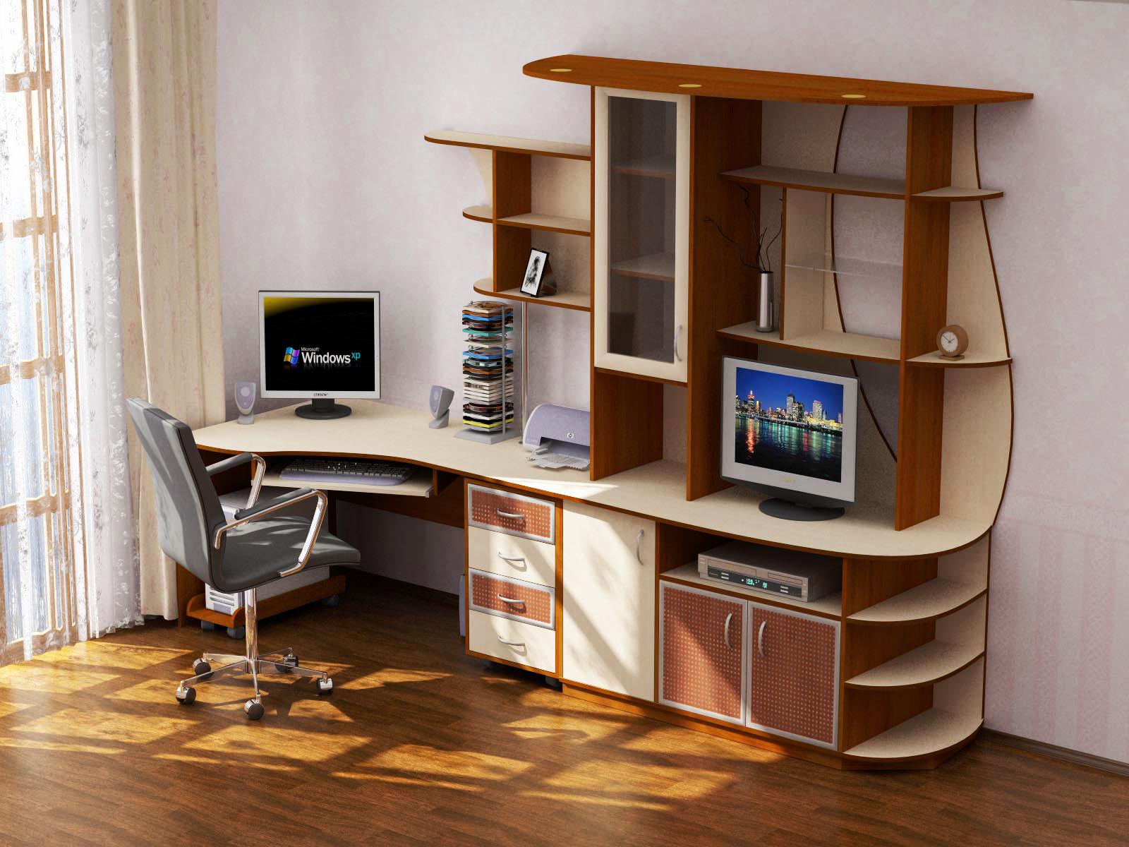 Угловой компьютерный стол с надстройкой и шкафчиками.