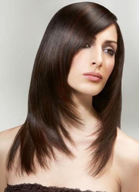 Стрижки на длинные волосы фото с редкой челкой