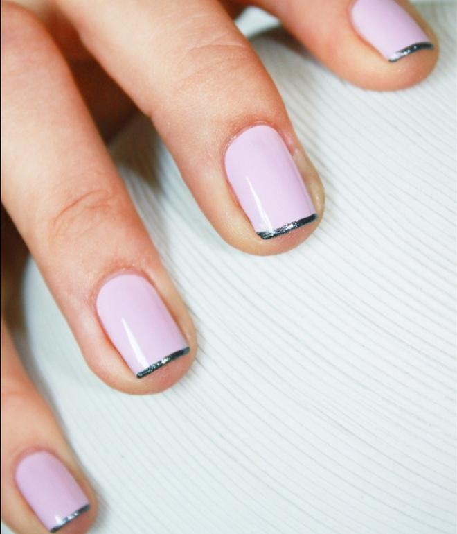 френч гель лаком на коротких ногтях 2