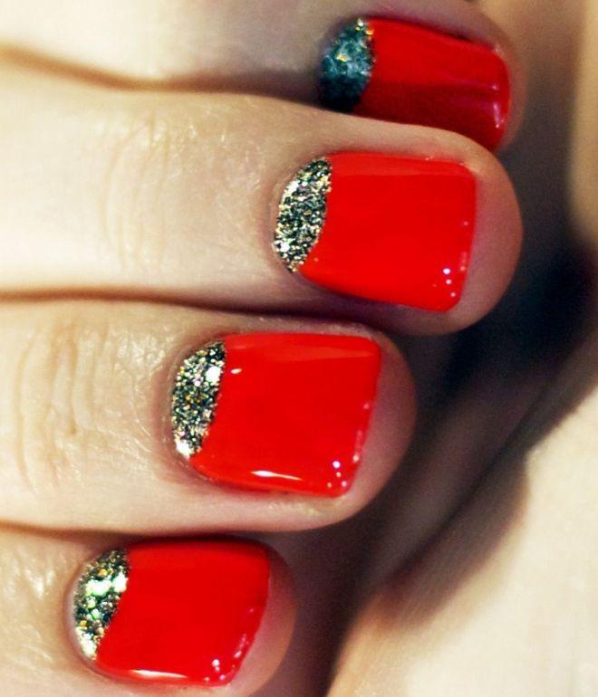 маникюр на короткие ногти красным гель лаком 2