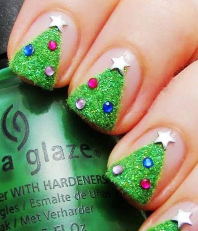 новогодний гель лак на короткие ногти 3