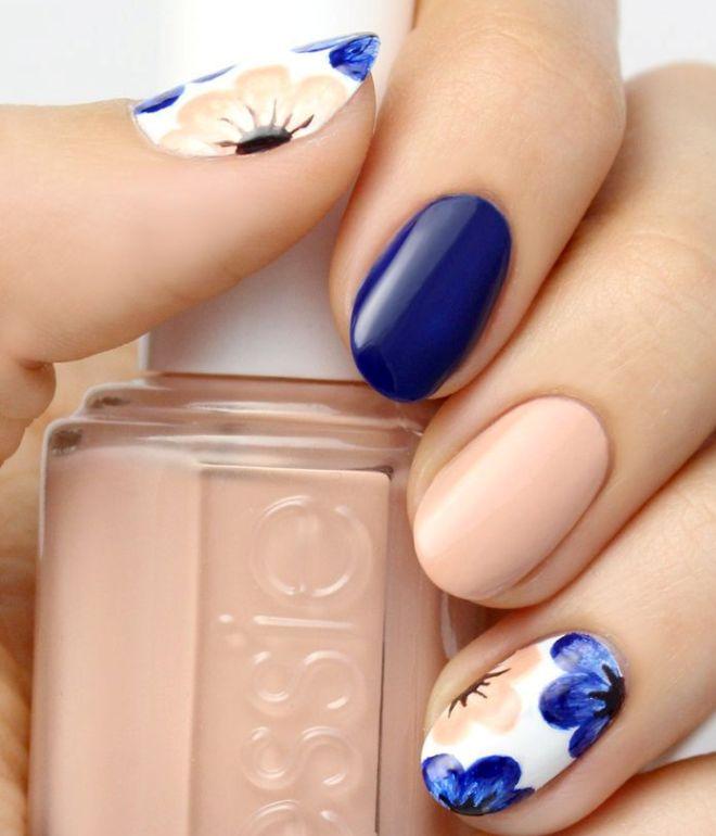 синий гель лак на короткие ногти 1