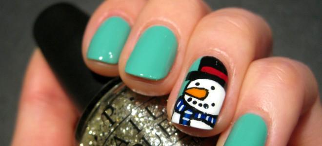 Зимний маникюр гель лаком на коротких ногтях