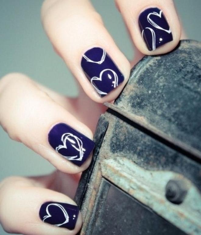 зимний маникюр гель лаком на коротких ногтях 3