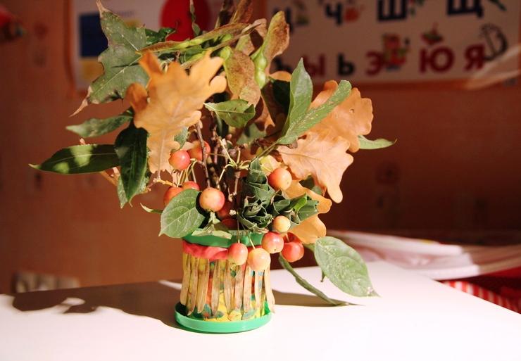 Осенний букет своими руками для детского сада  756