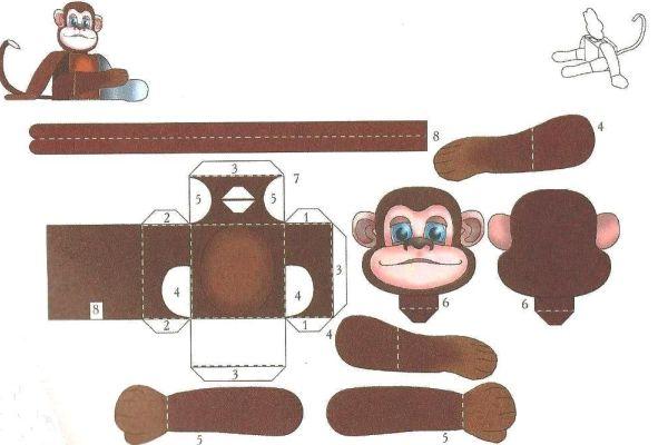 Схема обезьяны из бумаги
