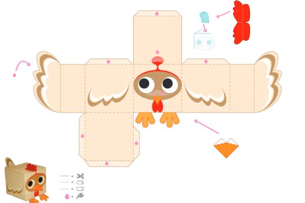 Поделки объемные из бумаги животных схема