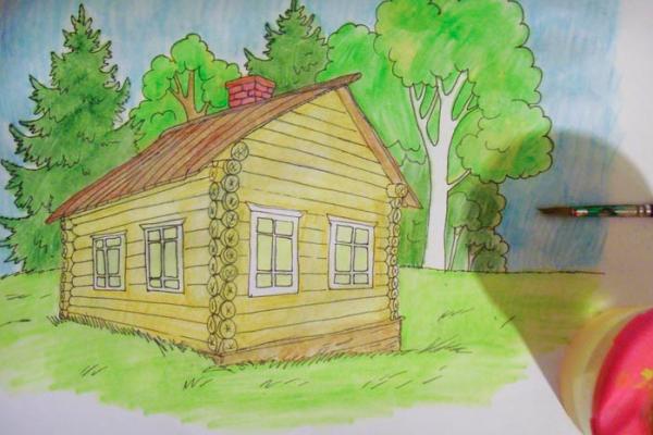 Нарисовать карандашом деревянный дом