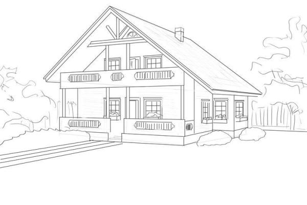 деревне в рисунки поэтапно домов
