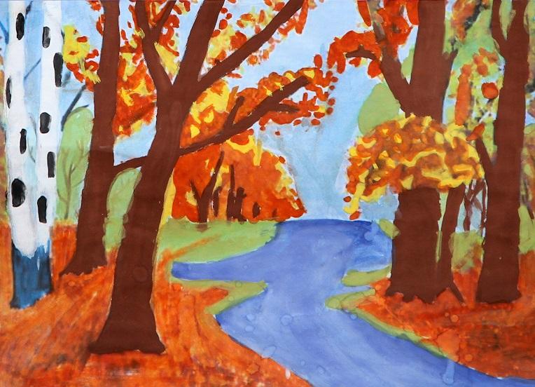 Золотая осень рисунок дети
